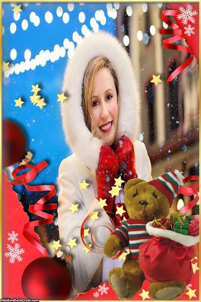 Ursinho Fofo de Natal Moldura