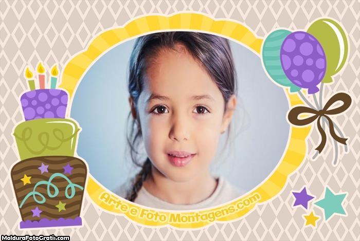 Bolo e Balões Feliz Aniversário Moldura