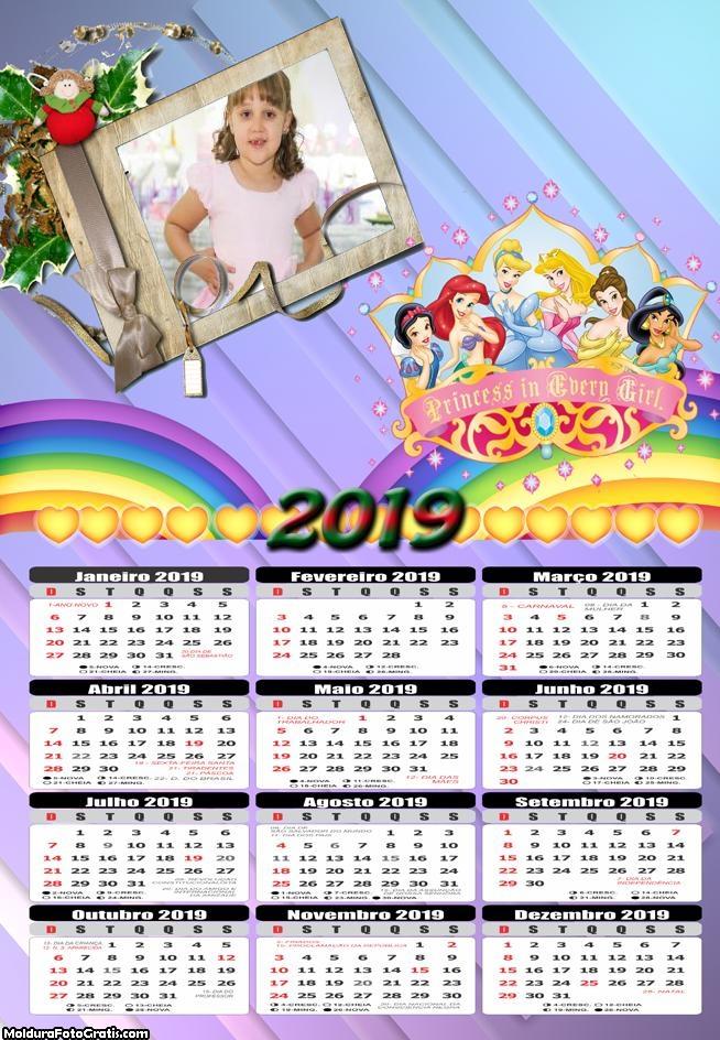 Calendário das Princesas Disney 2019 Moldura