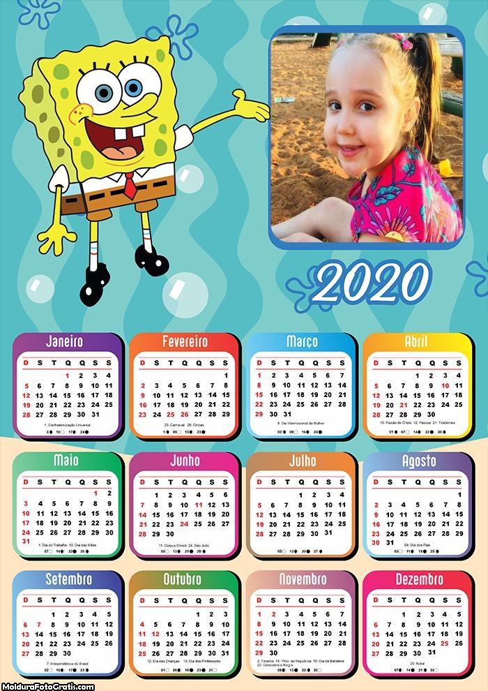 Calendário Bob Esponja 2020