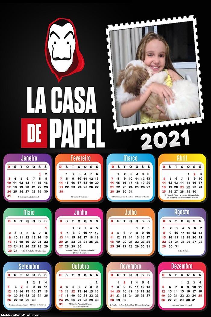Calendário La Casa de Papel 2021