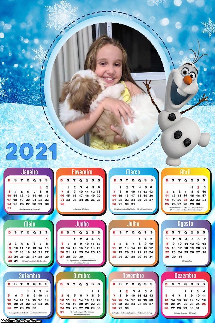 Calendário Olaf Frozen 2021
