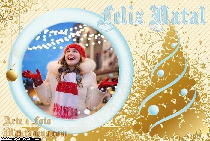 Lindo Feliz Natal Árvore Moldura
