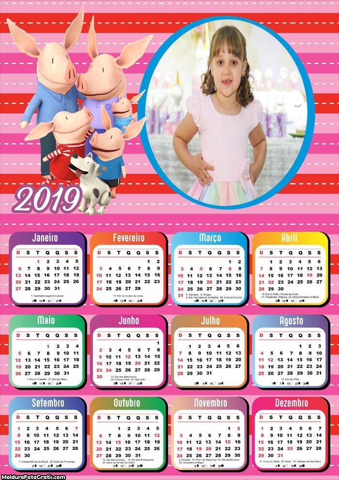 Calendário Porquinha Olivia 2019