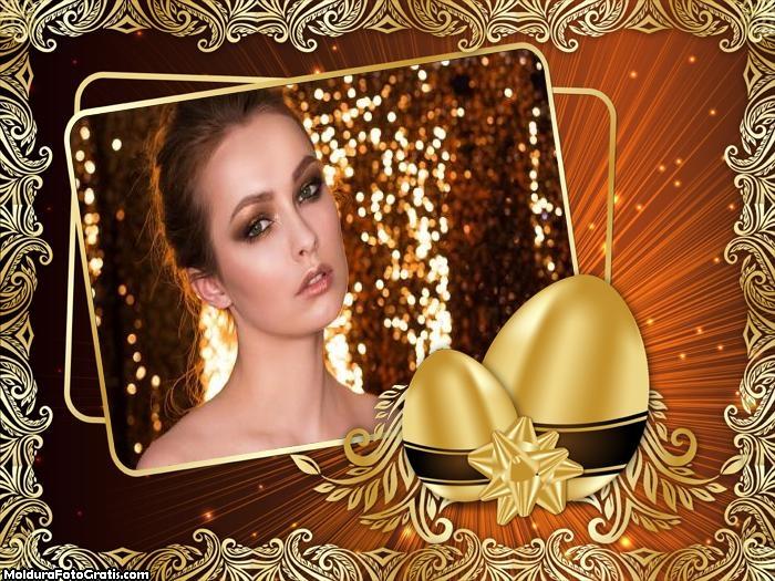 Montar Foto Ano Novo Ovo Dourado