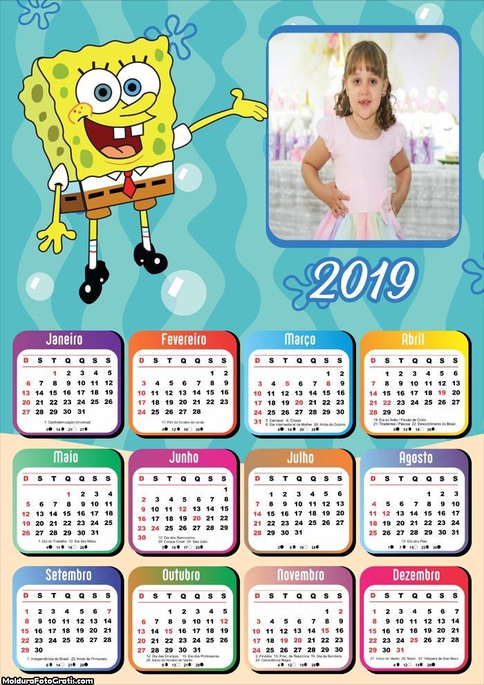 Calendário do Bob Esponja 2019