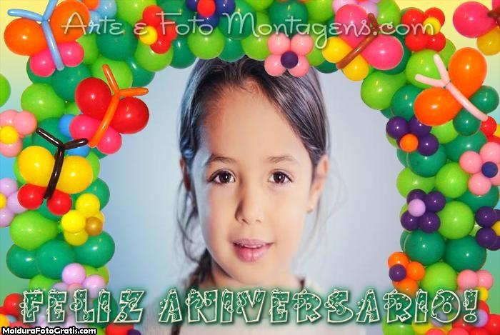 Feliz Aniversário Arco de Balões Moldura