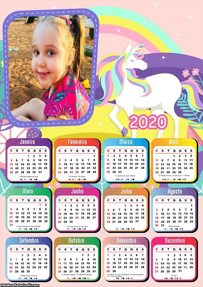 Calendário Unicórnico Colorido 2020