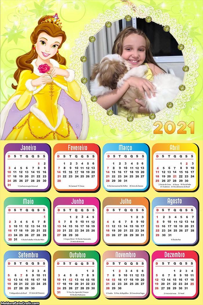 Calendário Flor Vermelha Princesa Bela 2021