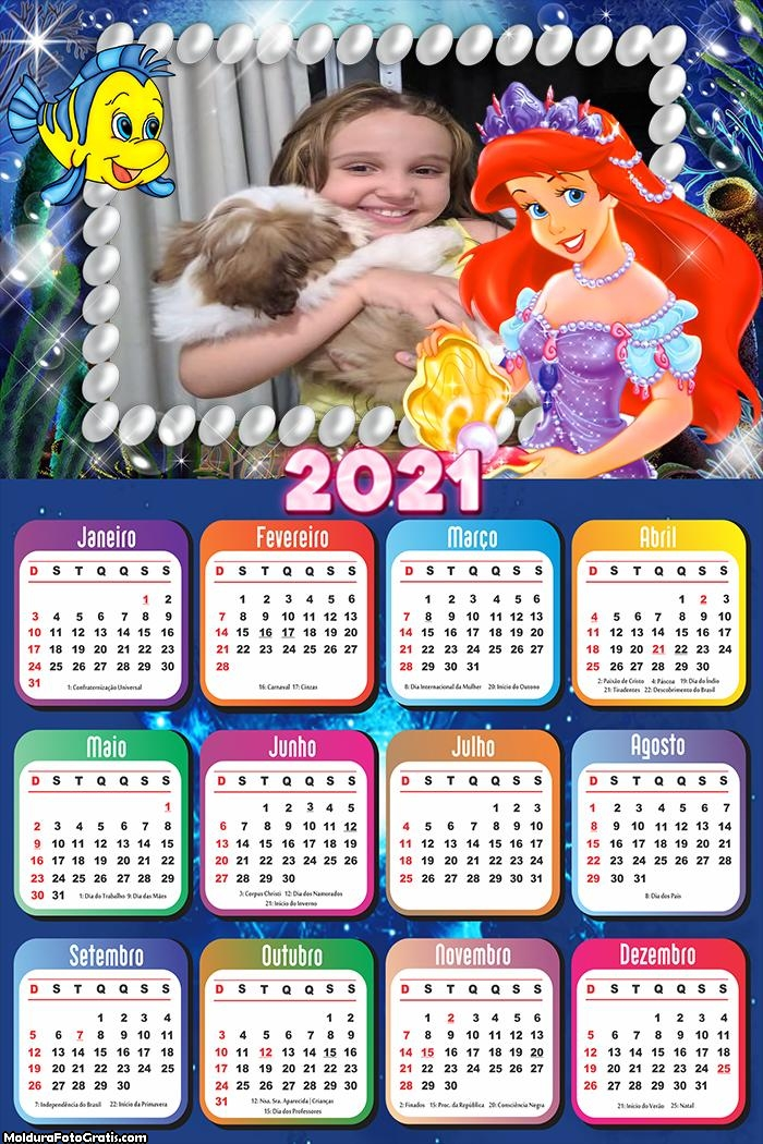 Calendário Princesinha Ariel 2021