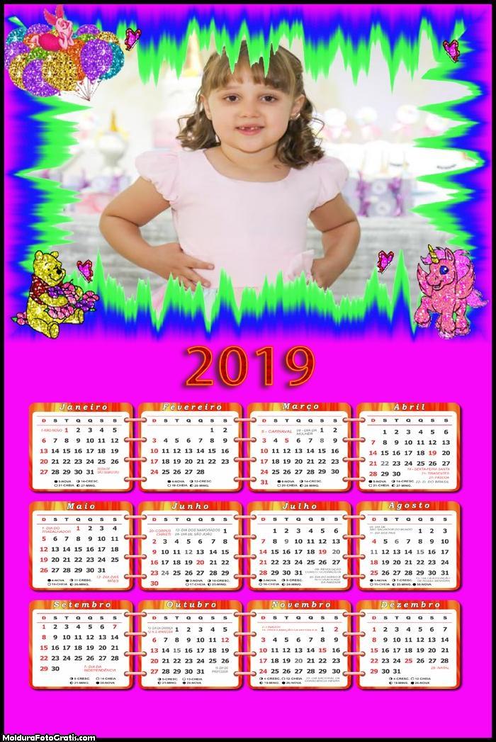 Calendário Pooh Brilhante 2019 Moldura