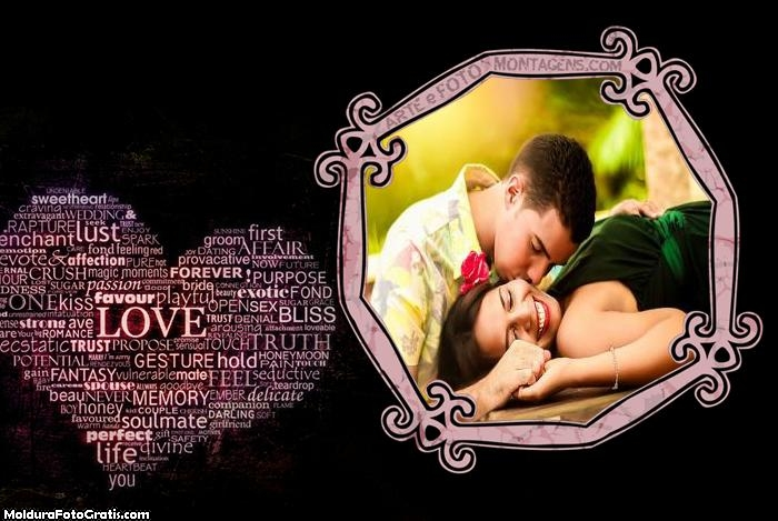 Palavras de Coração Amor Moldura