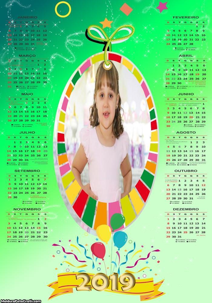Calendário Aniversário 2019 Moldura