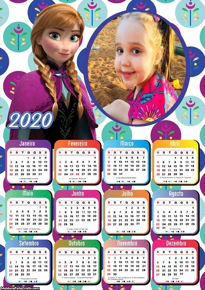 Calendário Princesa Anna Frozen 2020