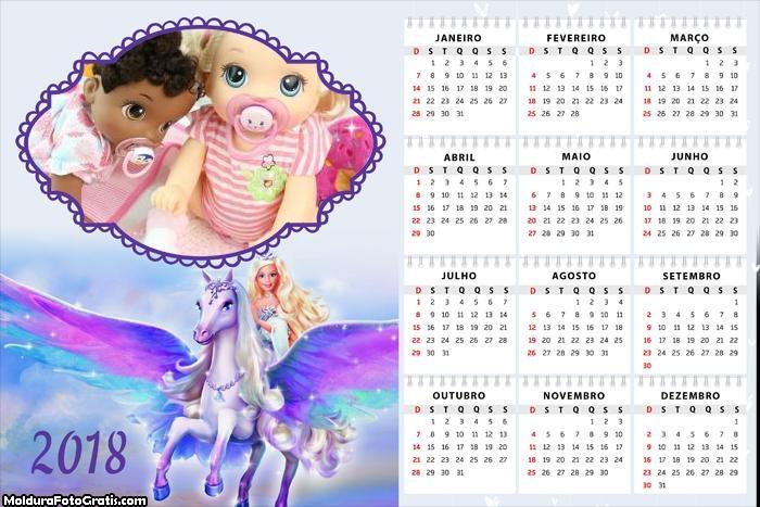 Calendário Cavalo da Barbie 2018