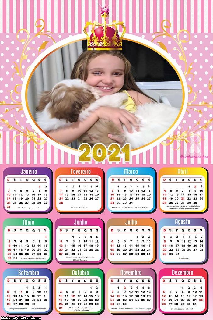 Calendário Realeza Meninas 2021