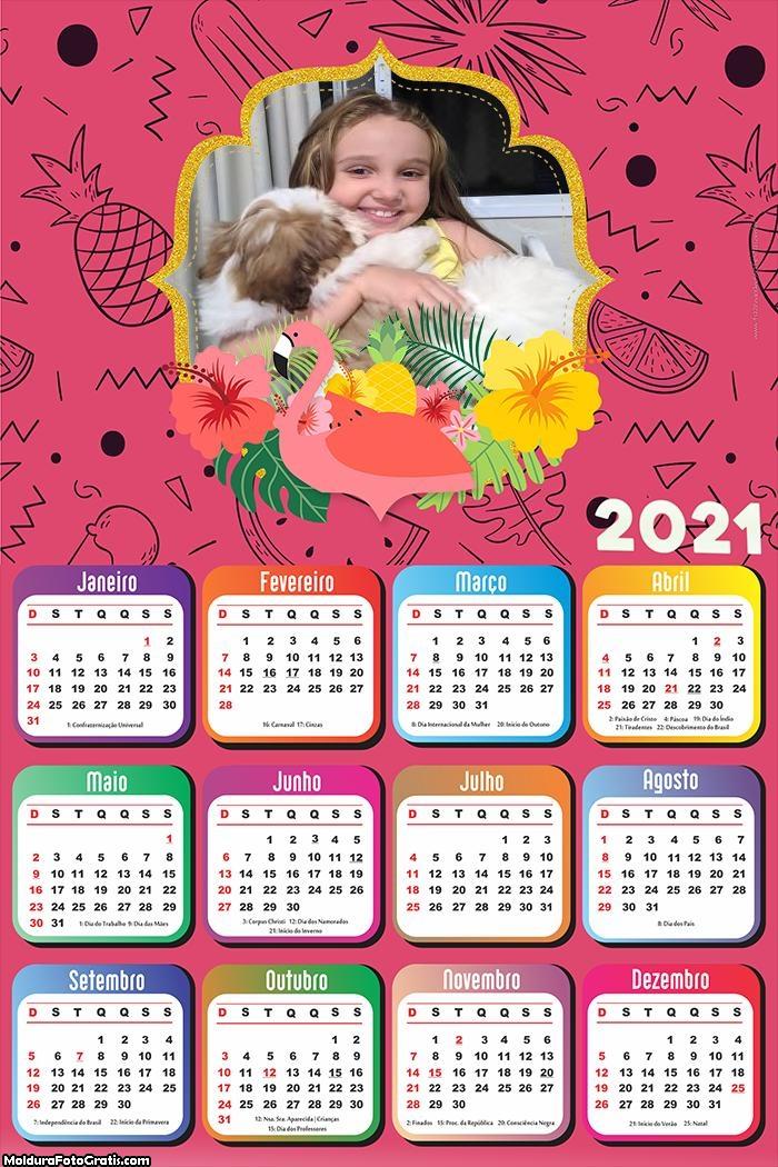 Calendário Flamingo Rosa 2021