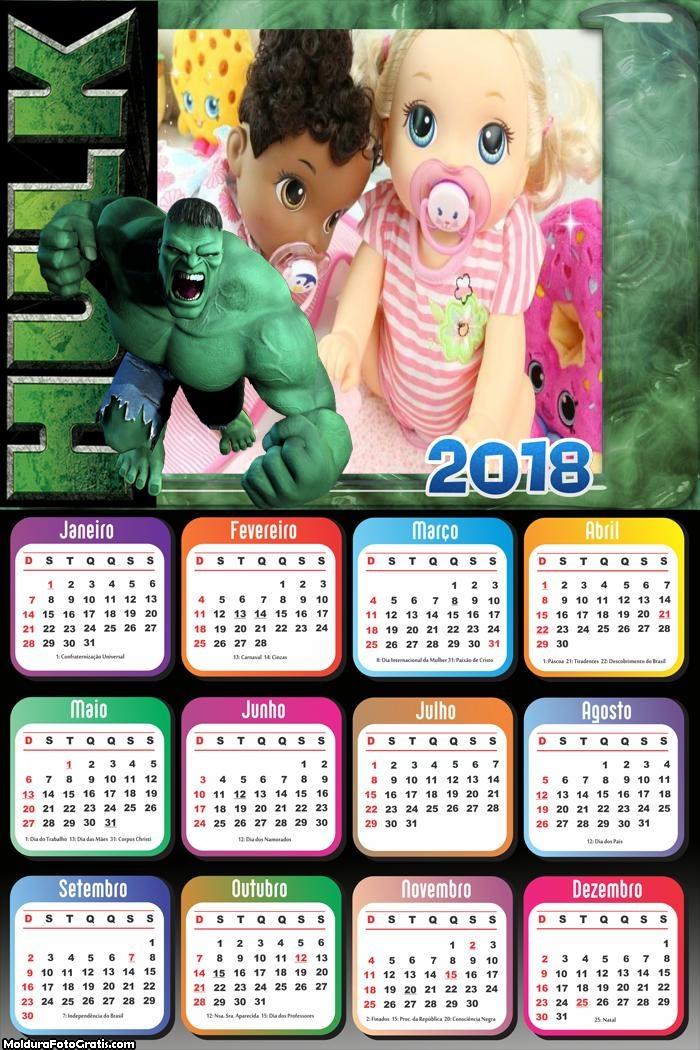 Calendário do Hulk 2018
