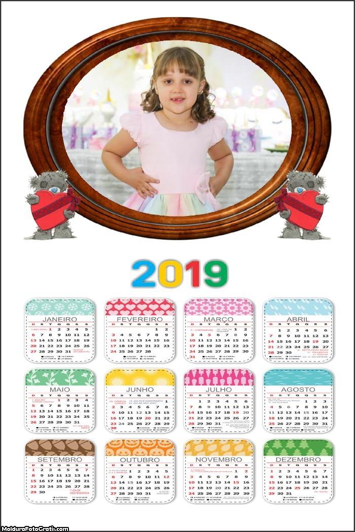 Calendário Ursinho Apaixonado 2019