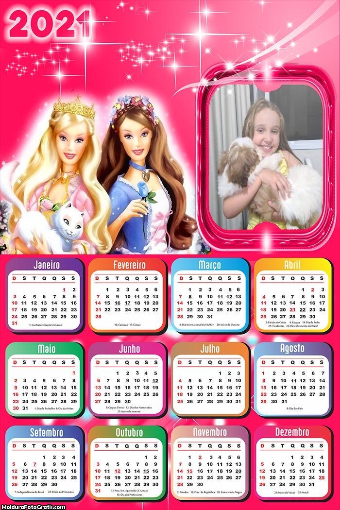 Calendário Amiga da Barbie 2021