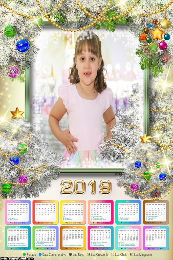 Calendário Enfeite Natal Brilhante 2019