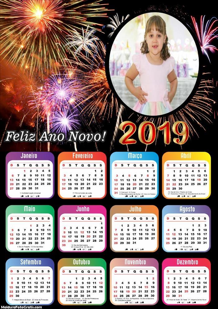 Calendário Feliz Ano Novo 2019