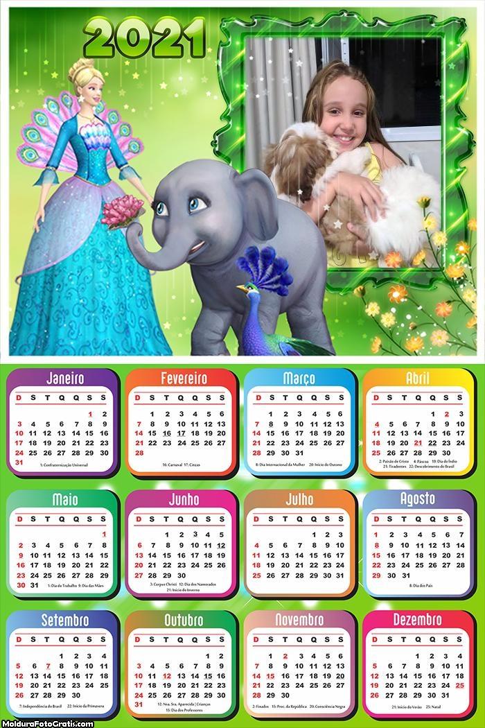 Calendário 2021 Barbie e Elefante 2021