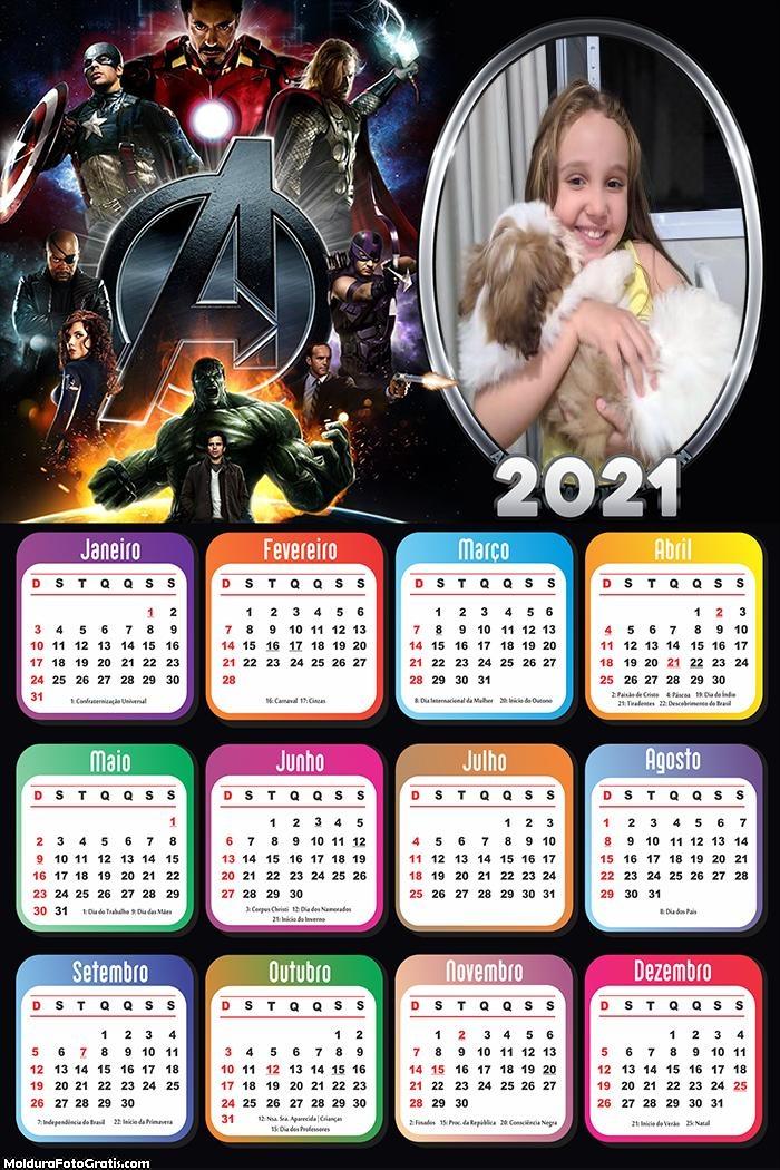 Calendário Os Vingadores 2021
