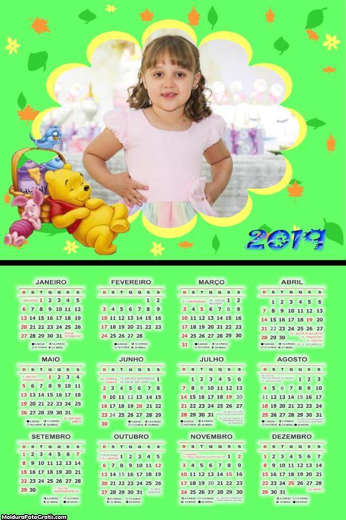Calendário Pooh Comilão 2019 Moldura