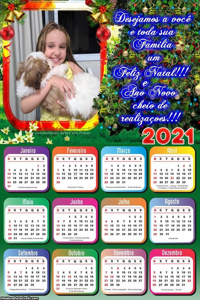 Calendário Feliz Natal Desejamos a Você 2021