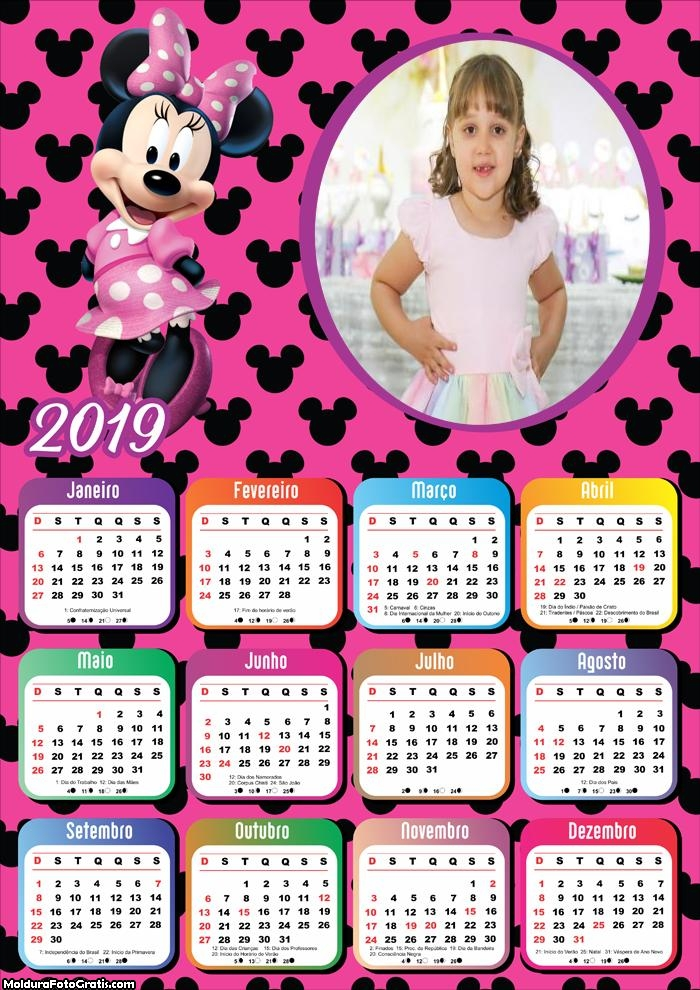 Calendário Minnie Mouse 2019