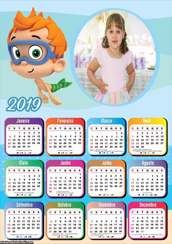 Calendário Bubble Guppies 2019
