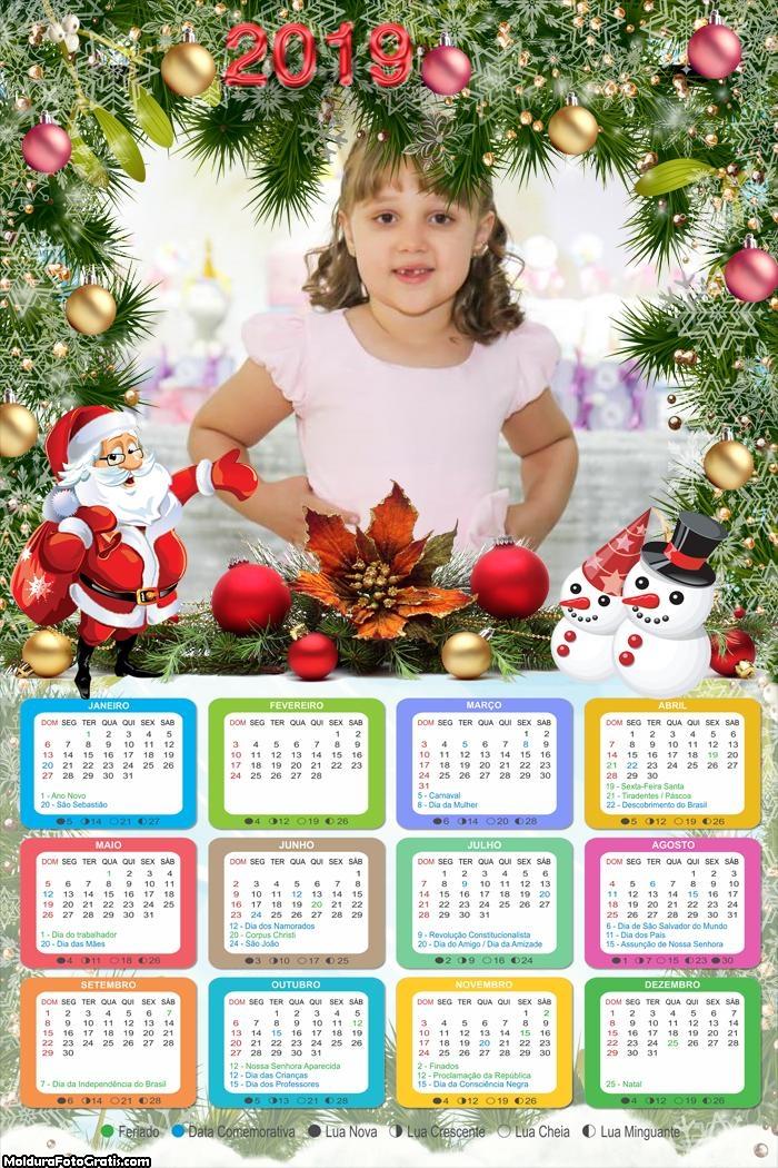 Calendário Enfeites Natalinos com Papai Noel 2019