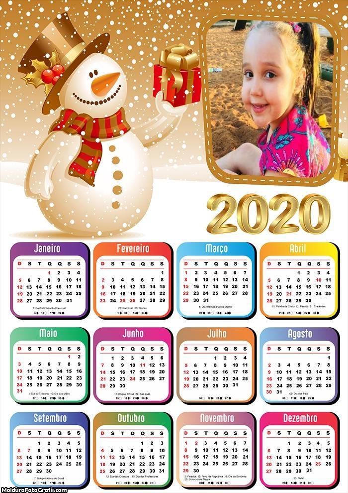 Calendário Boneco de Neve Dourado 2020