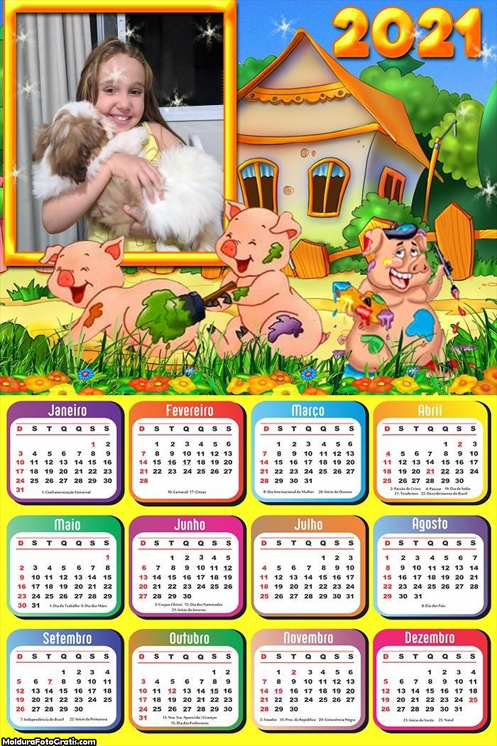 Calendário Os Três Porquinhos 2021