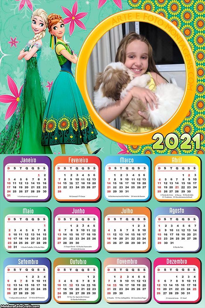 Calendário Anna e Elsa Frozen 2021