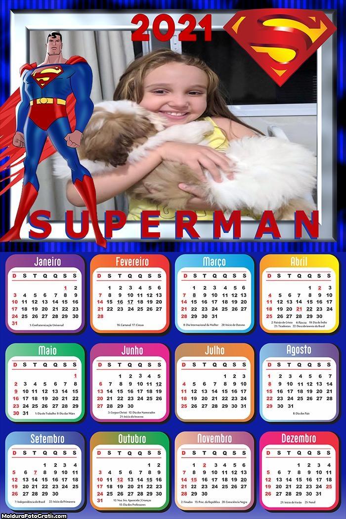 Calendário Desenho SuperMan 2021