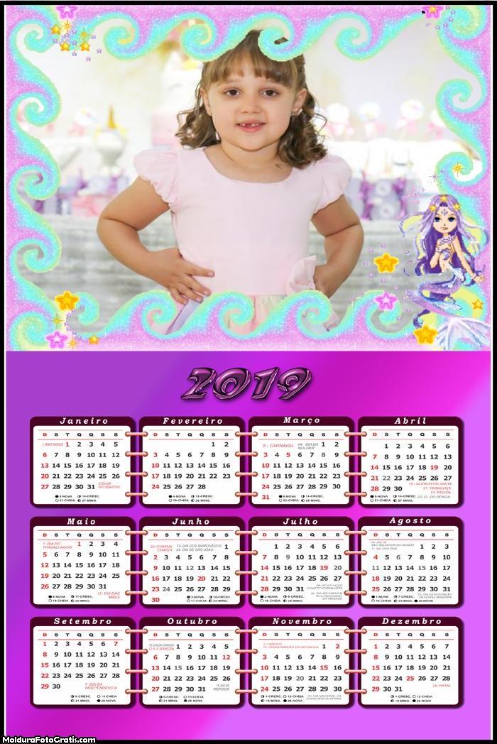 Calendário Sereia 2019 Moldura