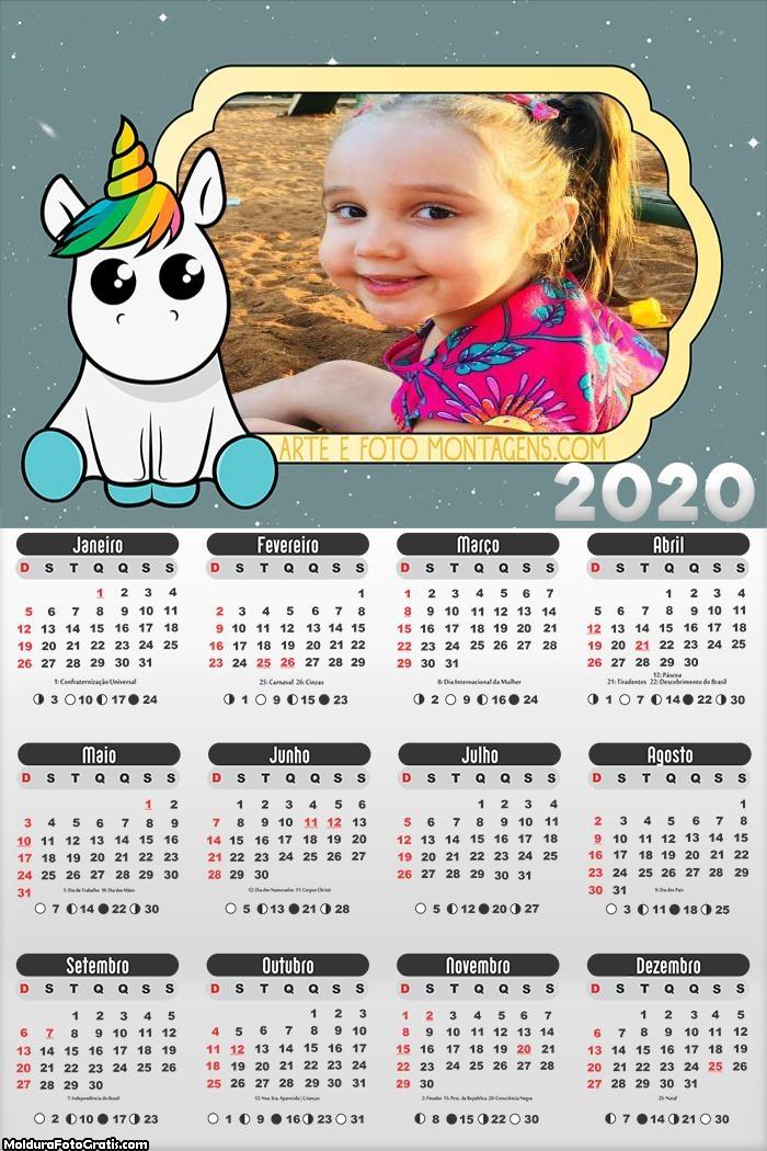 Calendário Unicórnio Baby 2020