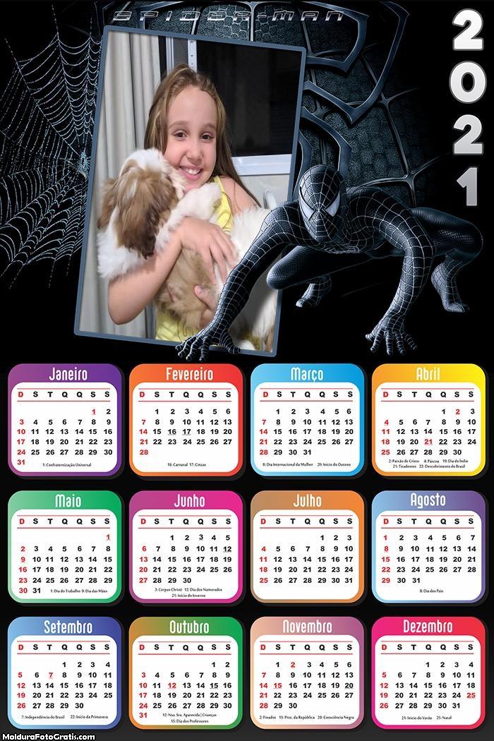 Calendário Homem Aranha Black 2021