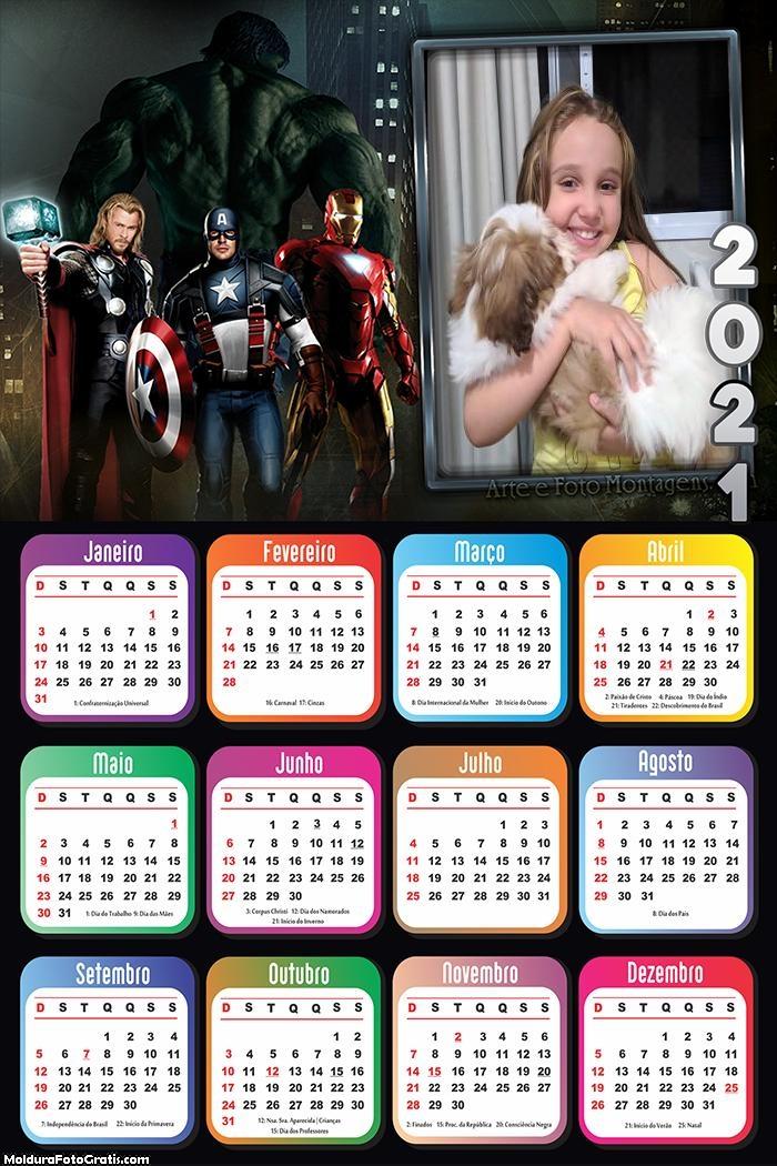 Calendário Vingadores Avengers 2021