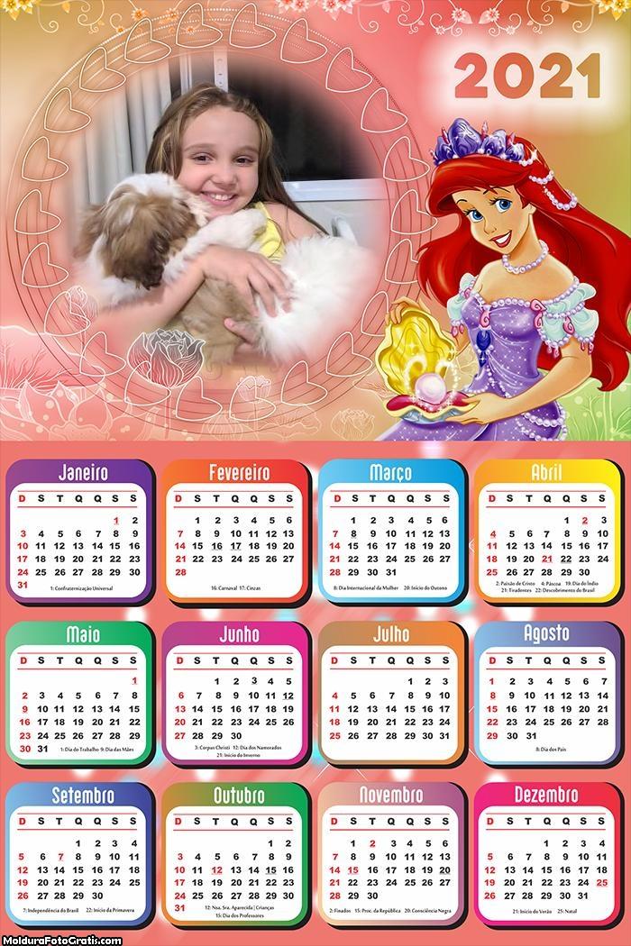 Calendário da Ariel Sereia 2021