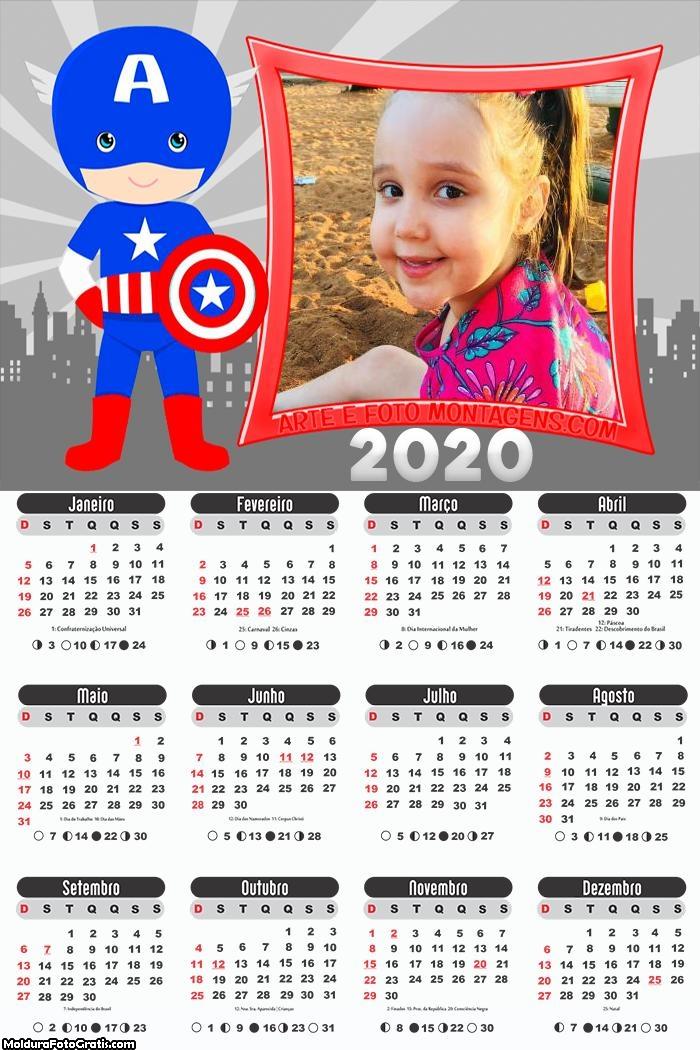 Calendário Capitão América Cute 2020