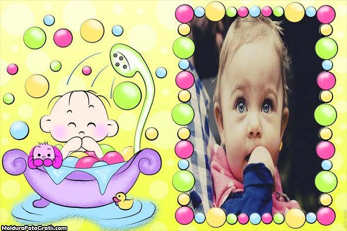 Bebê na Banheira Moldura