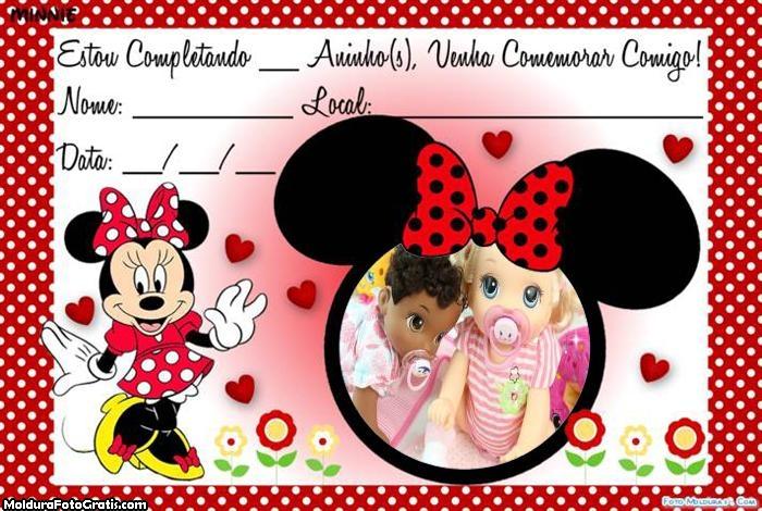 Convite da Minnie FotoMoldura