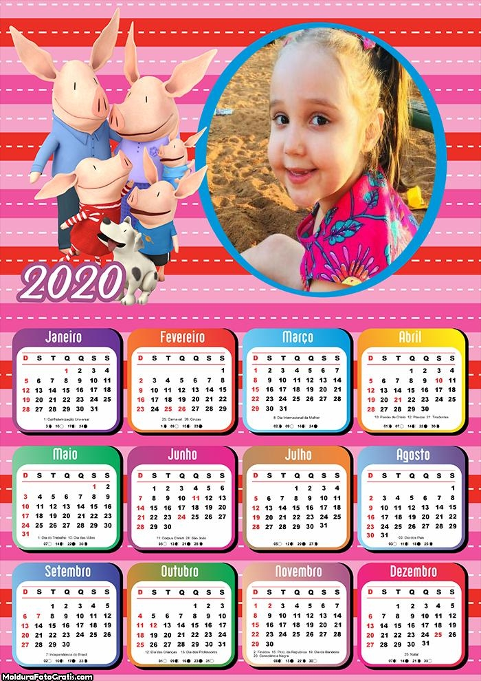 Calendário Família Porcos 2020