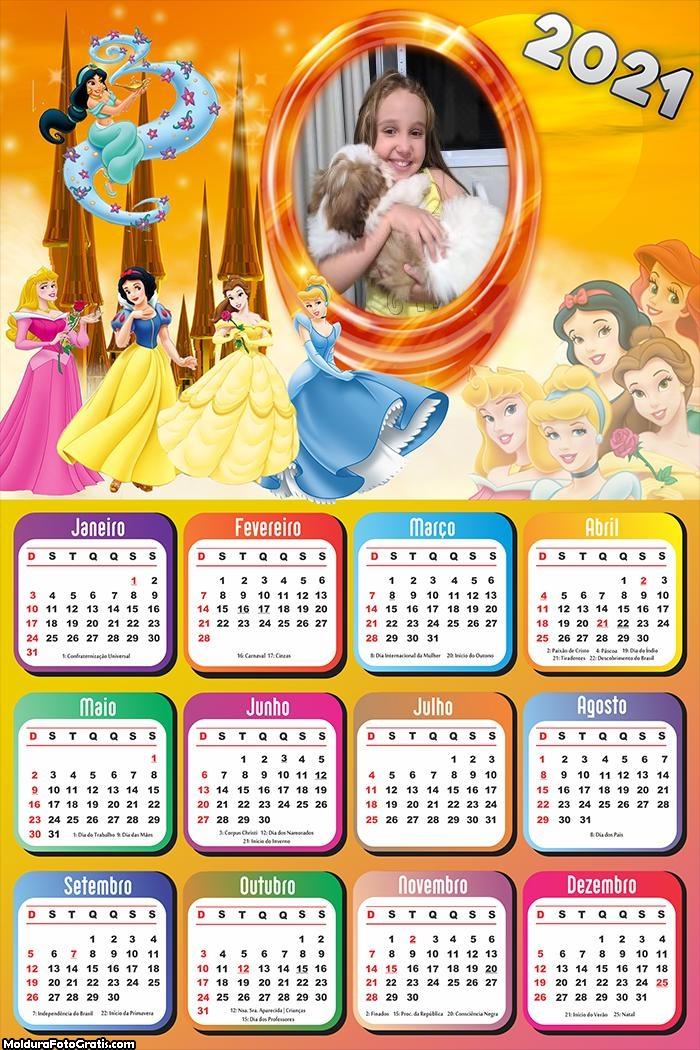 Calendário Princesas 2021 Disney