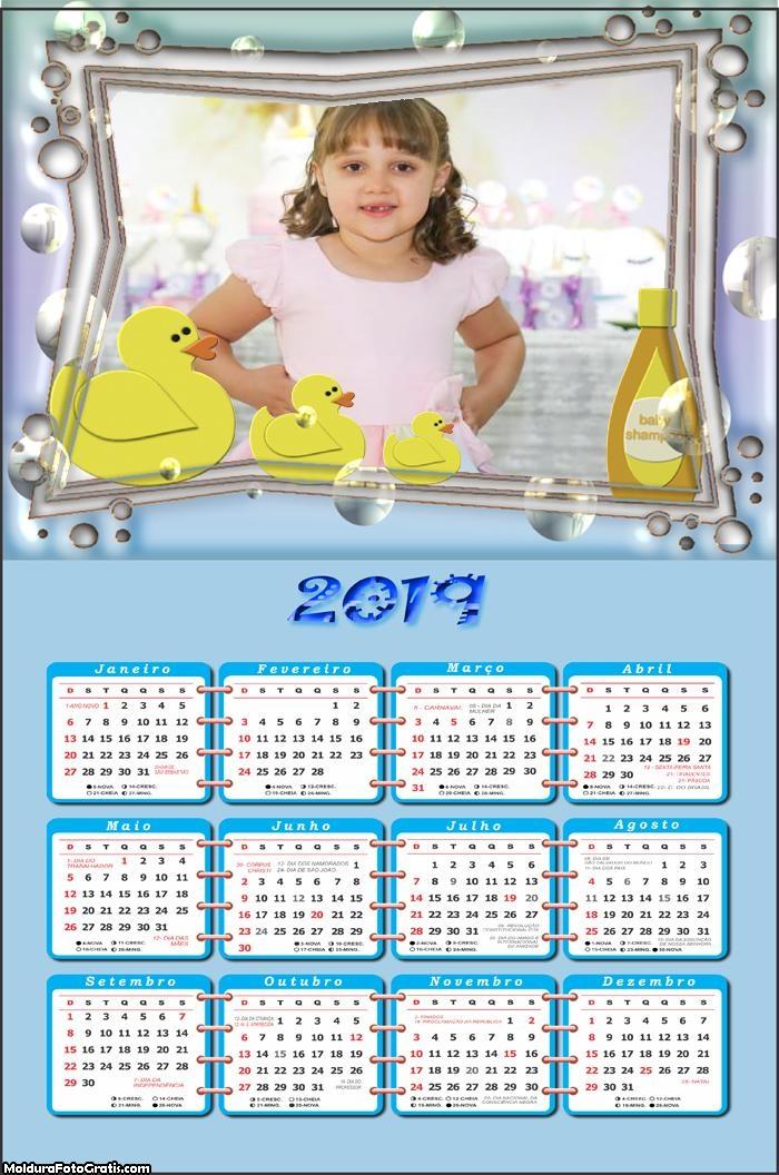 Calendário Patinhos Infantis 2019 Moldura