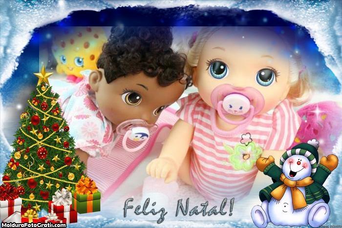Foto Moldura Feliz Natal Bonequinho de Neve