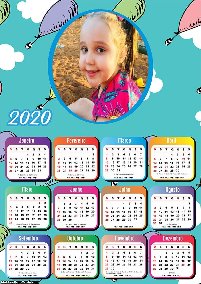 Calendário Infantil Balãozinhos 2020